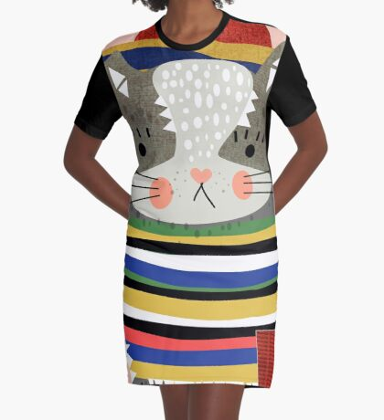 Travel Cat Graphic T-Shirt Dress