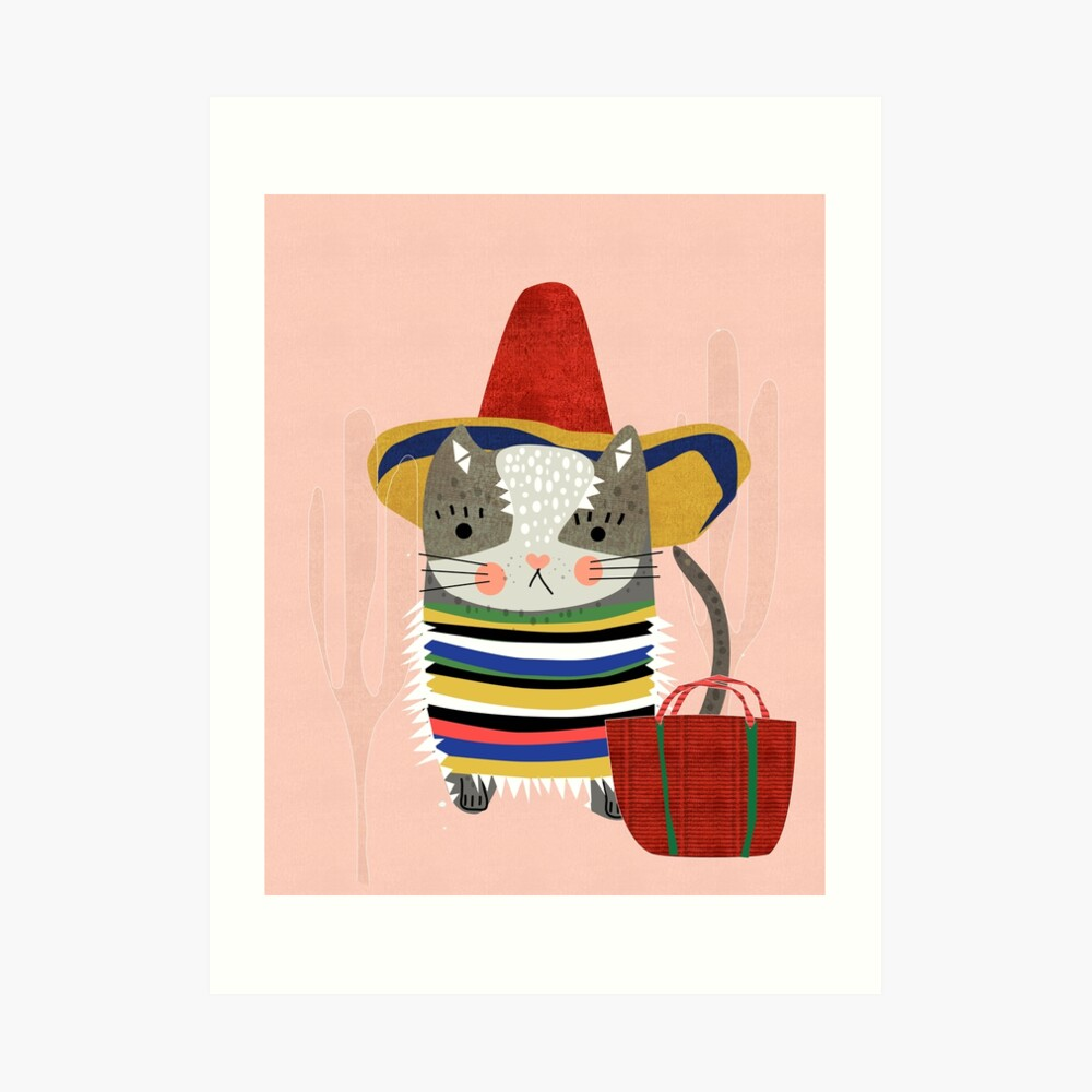 Travel Cat Art Print