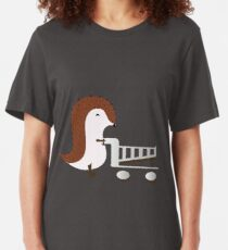 Camiseta ajustada Feliz erizo con carrito de compras