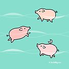 Swimming Pigs by Zoe Lathey