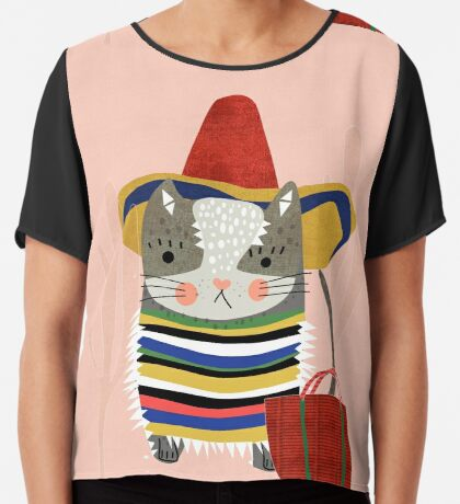 Travel Cat Chiffon Top