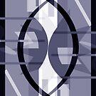 Cosmic Collision Monochrome Blue Grey - Jenny Meehan by Jenny Meehan