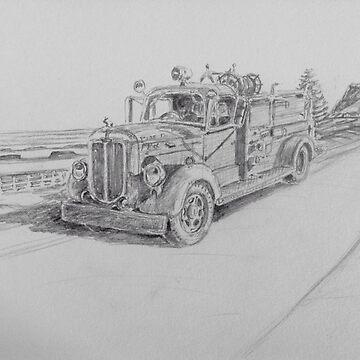 An old fire truck by Ian Shiel by Ruckrova