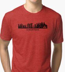 Singapore Skyline Art Tri-blend T-Shirt