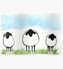 Three Sweet Sheep Watercolor Poster