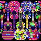 Peace, Love, Paisley Guitars by CheriesArt