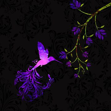 Purple Twilight Damask Hummingbird fantasy art by Glimmersmith