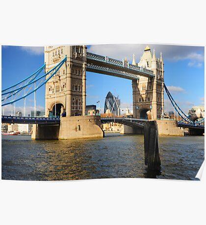 Tower Bridge and Gherkin London UK Poster