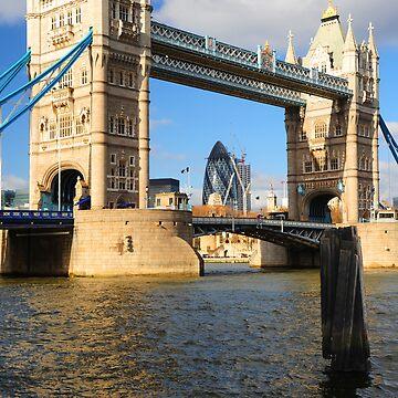 Tower Bridge and Gherkin London UK by DonDavisUK