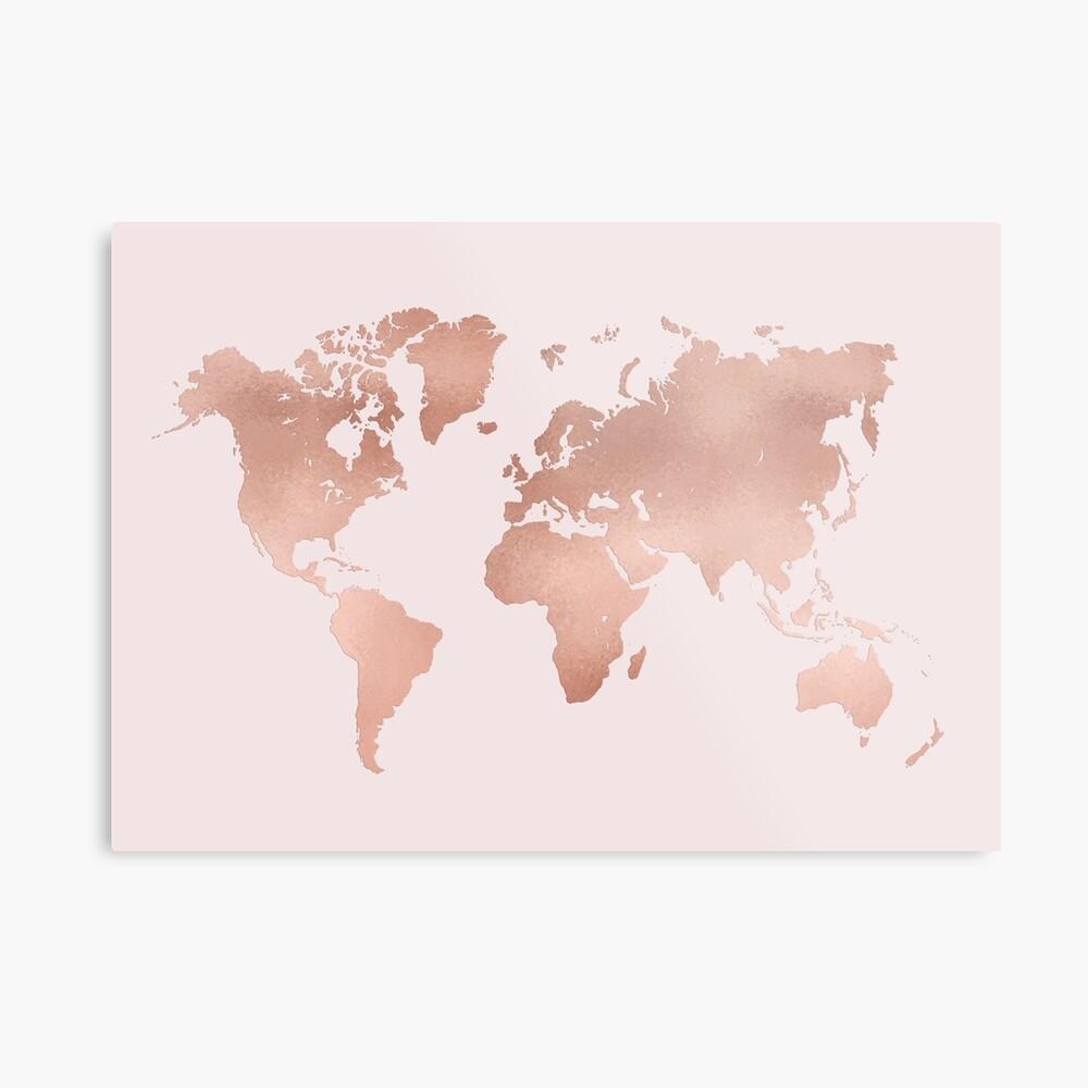 Rose Gold Weltkarte Metallbild