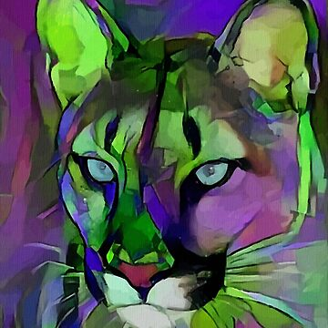 El Puma, Lea Roche paintings, Puma, panther, cat, pantera, panther by LEAROCHE