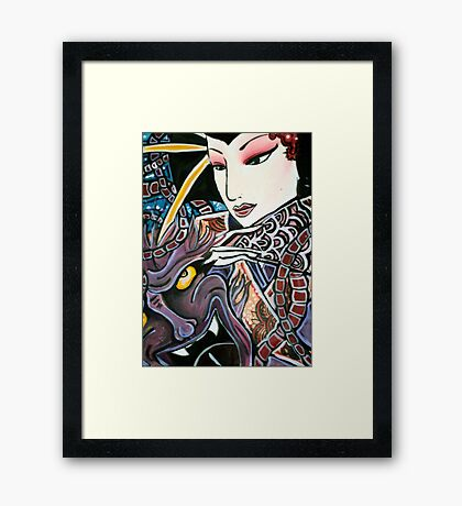 Geisha and Demon by Becca Framed Print