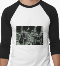 people, group, adult, military, engraving, horizontal, pattern, men, clothing, large group of people, crowd, only men, adults only Men's Baseball ¾ T-Shirt