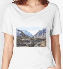 #Mountains, #road, #houses, #river, #mountain #village #Tawlula  #Karachay #Balkar #Къарачай #Малкъар #Qaraçay #Malqar #Tawlu #Karachays #Balkars  Women's Relaxed Fit T-Shirt