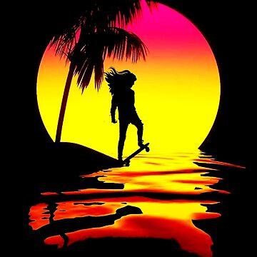 Skater Girl bei Sonnenuntergang von retropopdisco