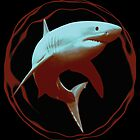 Great White Shark - Digital Painting - Red and Blue version by TMBTM