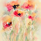 Poppies in watercolor by Ellen van Deelen