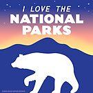 «Amo los parques nacionales - oso negro pegatina» de BlueAsterStudio