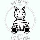 Welcome little one - Gender Neutral Unisex Baby Card - Zebra Card - Cute - Adorable - Newborn - Baby Shower by JustTheBeginning-x (Tori)