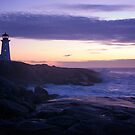 Peggy's Point lighthouse Sunset Nova Scotia by Roxane Bay