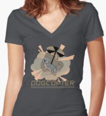 Dogcopter Women's Fitted V-Neck T-Shirt