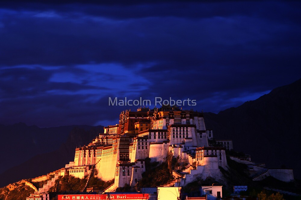 Evening over the Potala Palace in Lhasa by Malcolm Roberts