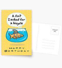 Fish Bicycle Birthday Postcards