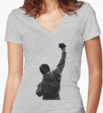 Never give UP! Rocky Balboa Women's Fitted V-Neck T-Shirt