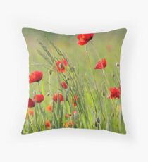 Poppy plantation Throw Pillow