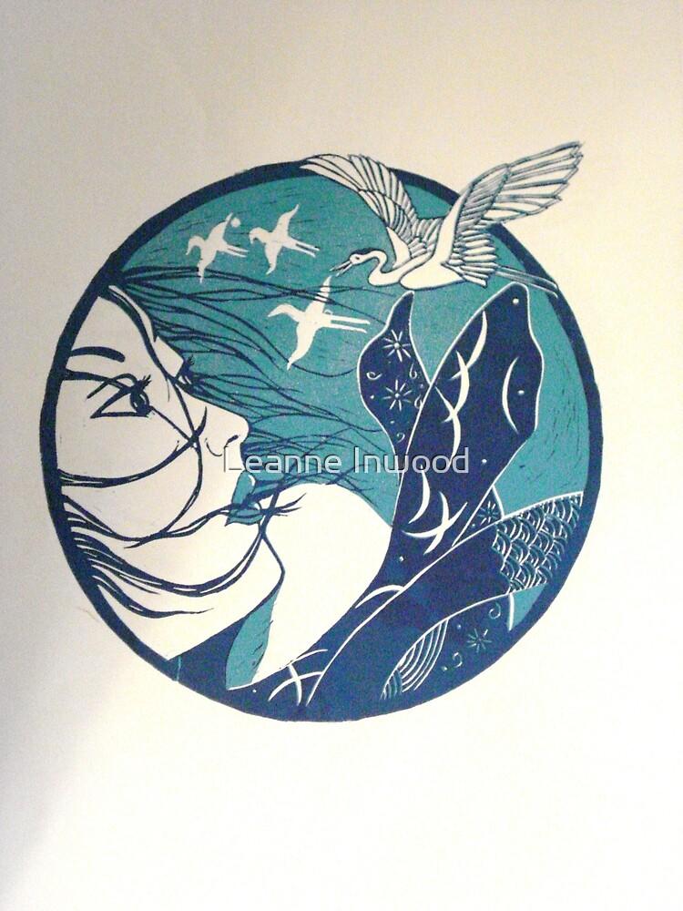 blue japan lino print by Leanne Inwood