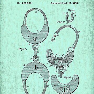 US Patent - Handcuffs - Circa 1880 by marlenewatson