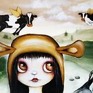 Flying cow art by Angieclementine  by Angieclementine