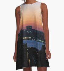 #sunset, #city, #dusk, #water, #cityscape, #architecture, #river, #sky, #reflection, #skyscraper A-Line Dress