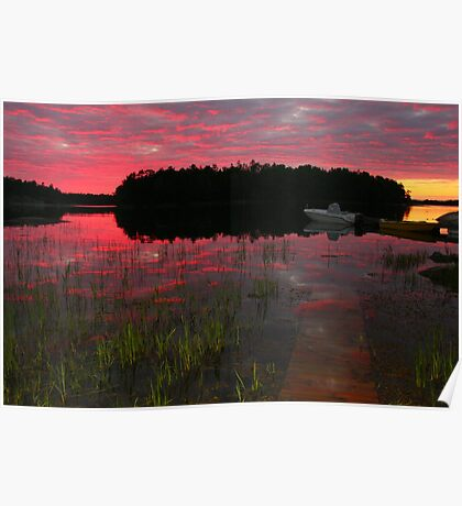 Finnhamn sunset Poster