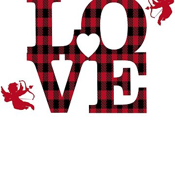 Red Plaid Love Valentine Gift by galleryOne