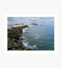 Scituate, Mass Jetty and Lighthouse Art Print