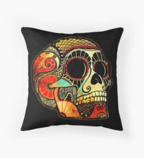 Grunge Skull Throw Pillow