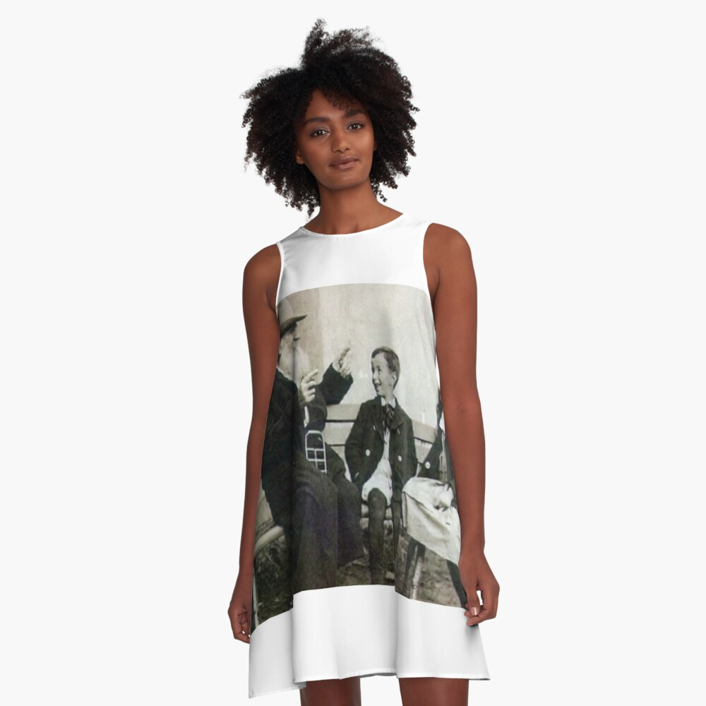 #child, #people, #clothing, #females, #photography, #candid, #men, #gentlemen A-Line Dress Front