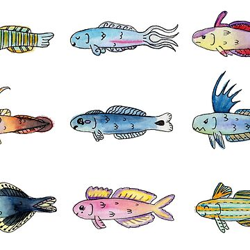 Happy aquarium fish friends in watercolor by narwhalwall