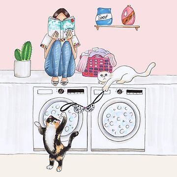 laundry and cats  by reyniramirezfi
