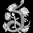 Snake & Flowers Witchy Gothic Punk Illustration Black & White by lunaelizabeth
