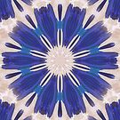 Blau Blumen Mandala von Costa100