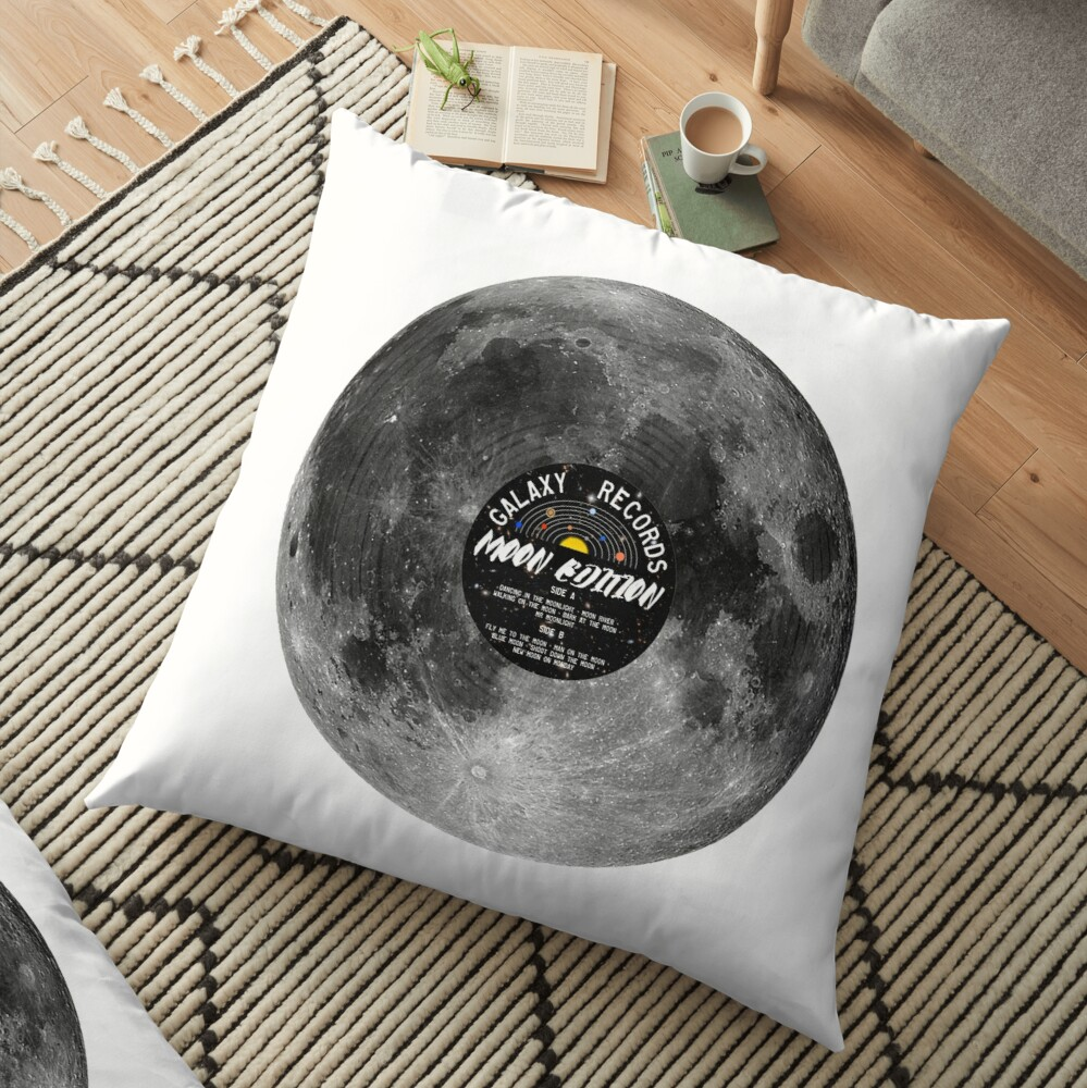 Moon Vinyl Galaxy Records Floor Pillow