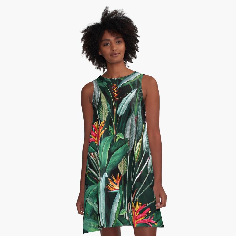 Mitternachtsgarten V A-Linien Kleid