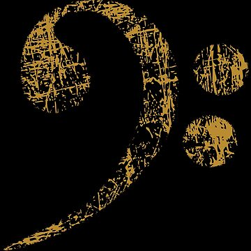 Bass clef - Gold - Distressed by Vectorbrusher