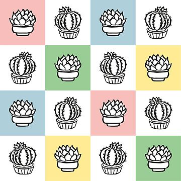 Succulents print on colored squares by alijun