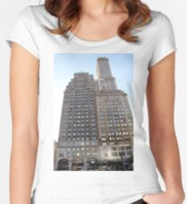 #famous #place, #international #landmark, #Apple Store, New York City, USA, american culture, architecture, city, skyscraper, office, modern, sky, business, cityscape, tower Women's Fitted Scoop T-Shirt