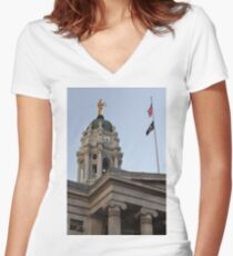 #famous #place, #international #landmark, Bunker Hill Monument, Dock Square, USA, #american culture, statue, dome, spire, architecture Women's Fitted V-Neck T-Shirt