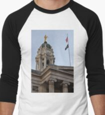 #famous #place, #international #landmark, Bunker Hill Monument, Dock Square, USA, #american culture, statue, dome, spire, architecture Men's Baseball ¾ T-Shirt