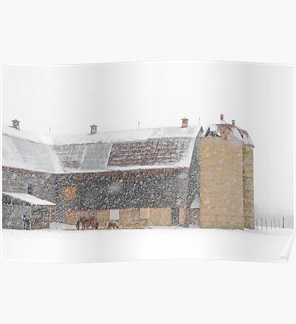 Winter Farm Scene Poster
